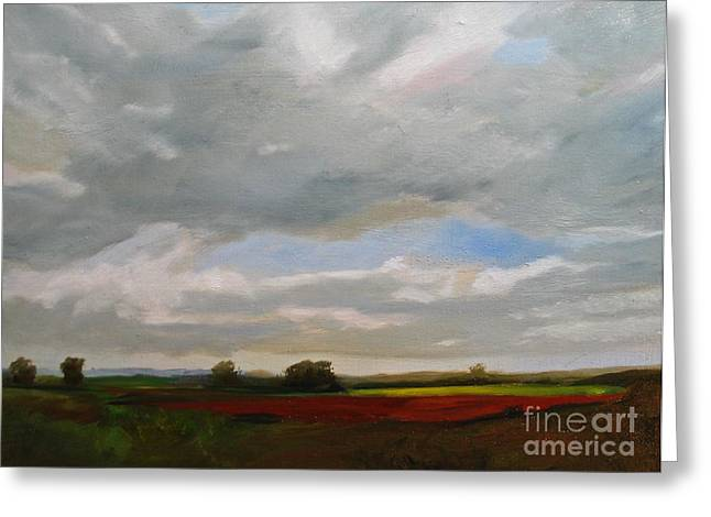 Annapolis Valley Greeting Cards - Vast sky over valley fields Greeting Card by Mary Ann Archibald