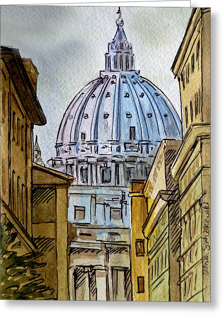 Sketch Greeting Cards - Vatican City Greeting Card by Irina Sztukowski