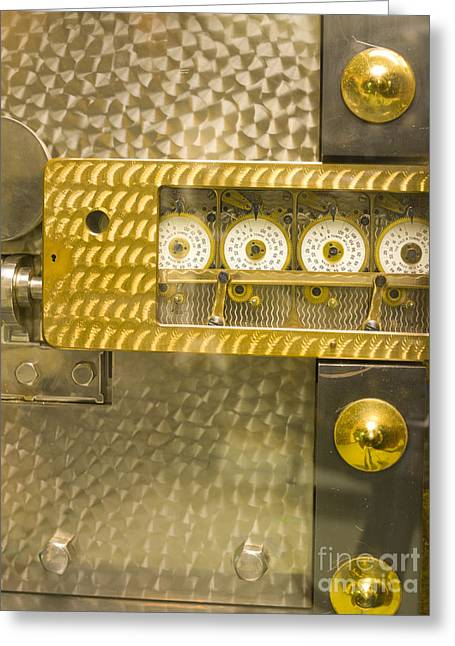 Mercantilism Photographs Greeting Cards - Vault Door Timing Device Greeting Card by Adam Crowley