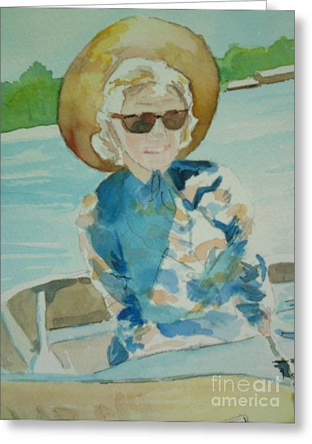 Lady In Lake Greeting Cards - Veda Greeting Card by Jill Morris