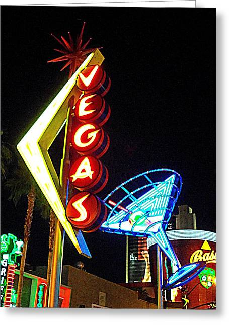 Glitter Gulch Greeting Cards - Vegas Martini Greeting Card by Randall Weidner