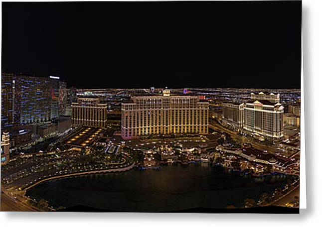Architecture Greeting Cards - Vegas Strip from Eiffel Tower Greeting Card by Metro DC Photography