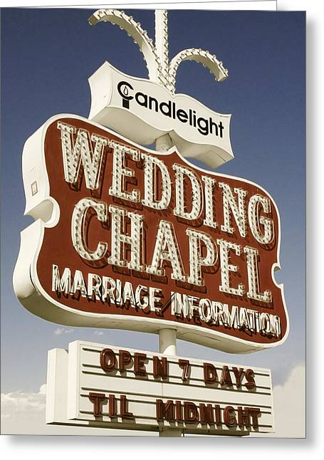 Wedding Chapel Greeting Cards - Vegas Wedding Chapel Greeting Card by Anthony Ross