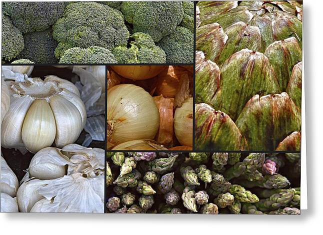 Broccoli Greeting Cards - Vegetable Montage Greeting Card by Forest Alan Lee