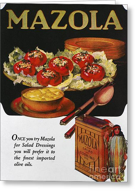 Salad Dressing Greeting Cards - Vegetable Oil Ad, 1920 Greeting Card by Granger
