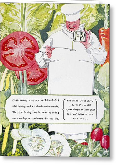 Salad Dressing Greeting Cards - Vegetable Oil Ad, 1926 Greeting Card by Granger