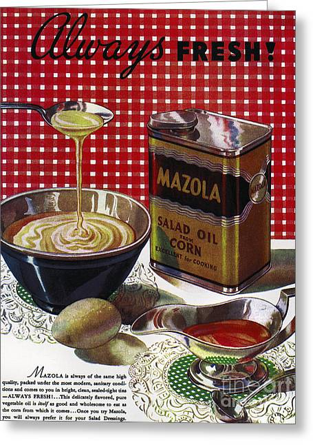 Salad Dressing Greeting Cards - Vegetable Oil Ad, 1936 Greeting Card by Granger