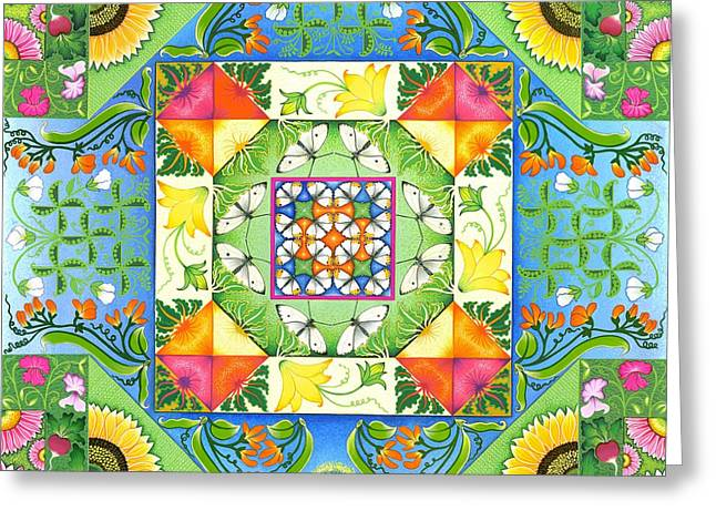 Best Sellers -  - Patch Greeting Cards - Vegetable Patchwork Greeting Card by Isobel  Brook Haslam
