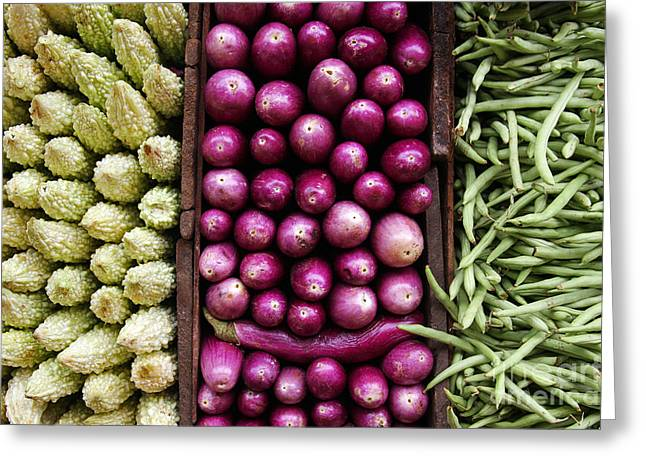 Sri Lanka Greeting Cards - Vegetable triptych Greeting Card by Jane Rix