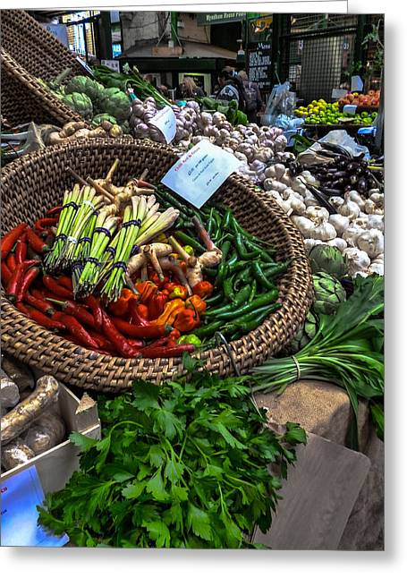 Borough Market Greeting Cards - Vegetables Greeting Card by Dawn OConnor