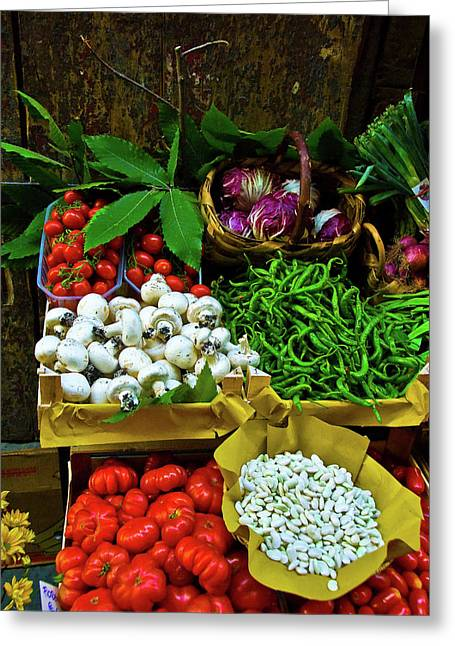 Fruit Print Greeting Cards - Vegetables in Florence Greeting Card by Harry Spitz