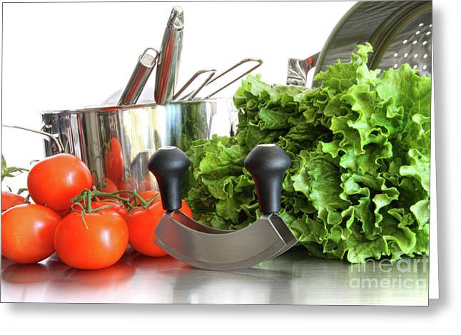 Vegetables with kitchen pots and utensils on white  Greeting Card by Sandra Cunningham