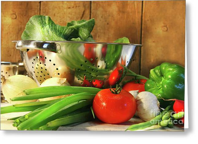 Stainless Steel Photographs Greeting Cards - Veggies on the counter Greeting Card by Sandra Cunningham