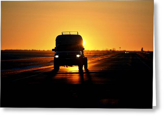 Rising Sun Greeting Cards - Vehicle Backlit By Rising Sun Greeting Card by Mark Duffy