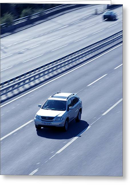 Car Carrier Greeting Cards - Vehicle On A Motorway Greeting Card by Tek Image