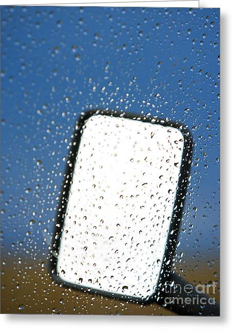 Wet Window Greeting Cards - Vehicle Side Mirror Greeting Card by David Buffington