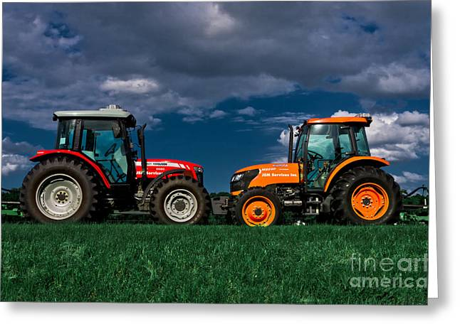 Tractors Greeting Cards - Vehicular Osculation Greeting Card by Warren Sarle