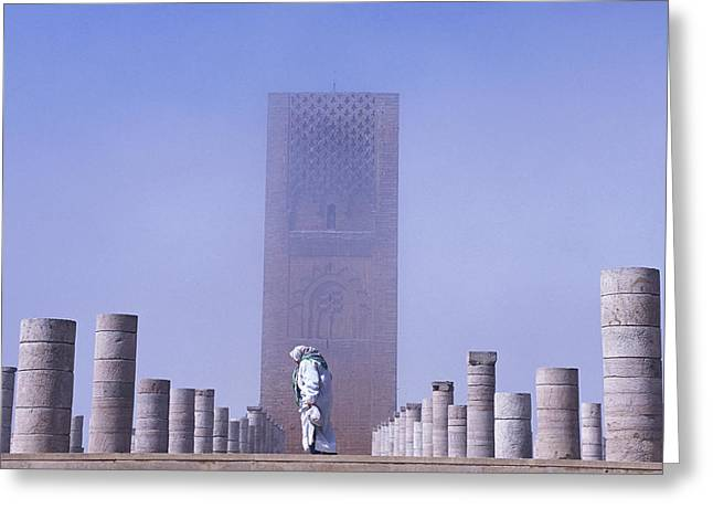 Veiled Woman Walking Infront Of Hassan Greeting Card by Axiom Photographic