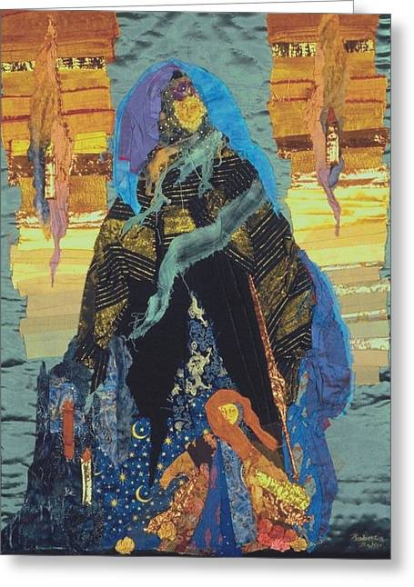 Bright Colors Tapestries - Textiles Greeting Cards - Veiled Woman with Spirit Child Greeting Card by Roberta Baker
