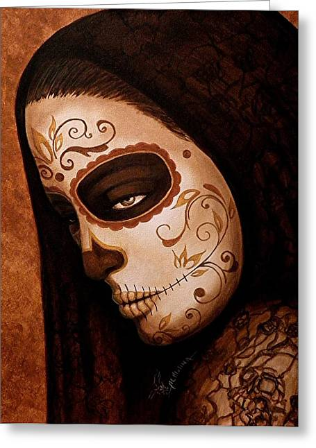 Dia De Los Muertos Art Greeting Cards - Velo de la Tristeza Greeting Card by Al  Molina