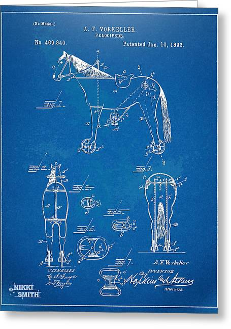 Riders Greeting Cards - Velocipede Horse-Bike Patent Artwork 1893 Greeting Card by Nikki Marie Smith