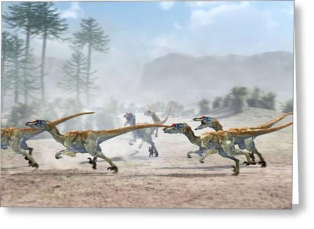 Velociraptor Greeting Cards - Velociraptor Dinosaurs Greeting Card by Jose Antonio PeÑas