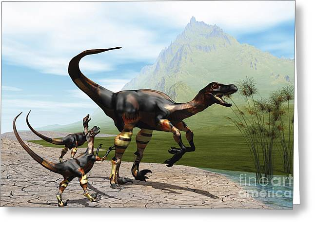 Caring Mother Digital Greeting Cards - Velociraptor Offspring Beg Mother Greeting Card by Corey Ford