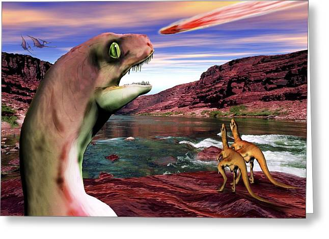 Velociraptor Greeting Cards - Velociraptors View An Asteroid Strike Greeting Card by Victor Habbick Visions