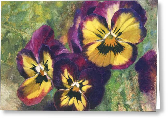 Pansy Greeting Cards - Velvet Clowns I Greeting Card by Anna Bain