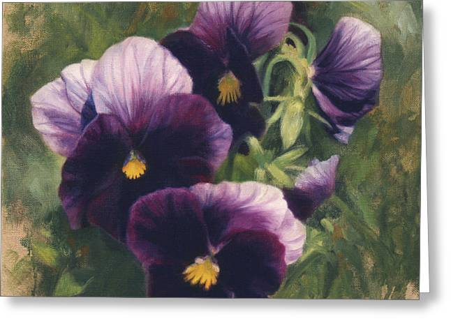 Pansy Greeting Cards - Velvet Clowns II Greeting Card by Anna Bain