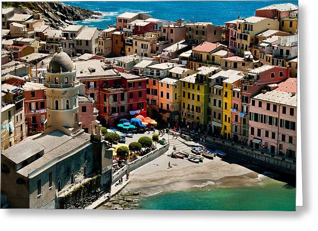 Green Sea Print Greeting Cards - Venazza Cinque Terre Italy Greeting Card by Xavier Cardell