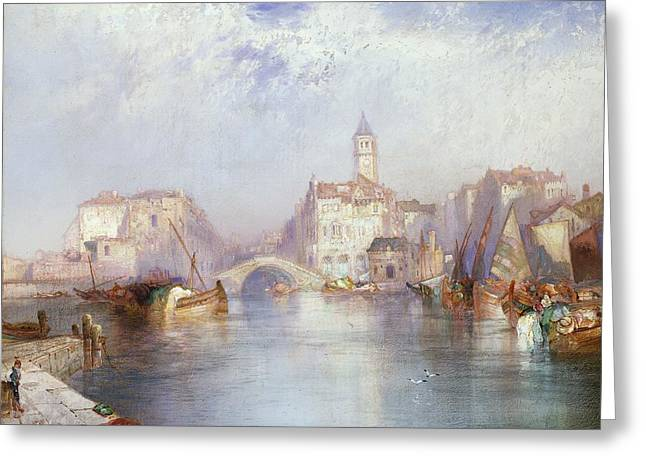 Venetian Canal Greeting Card by Thomas Moran