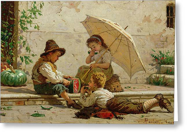 Venetian Children Greeting Card by Antonio Paoletti