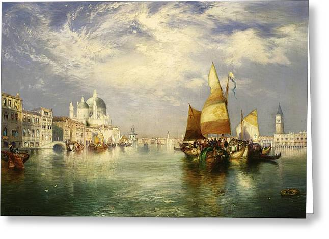 Masterpiece Paintings Greeting Cards - Venetian Grand Canal Greeting Card by Thomas Moran