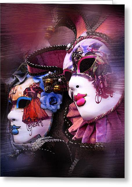 Jester Greeting Cards - Venetian Masks Greeting Card by Traveler Scout