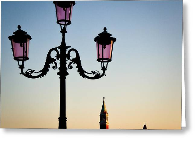 Streetlight Photographs Greeting Cards - Venetian Sunset Greeting Card by Dave Bowman