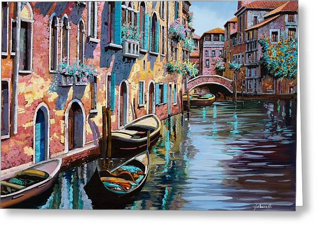 Dock Greeting Cards - Venezia In Rosa Greeting Card by Guido Borelli