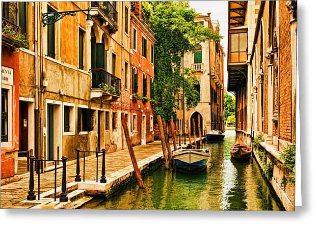 Venice Italy Greeting Cards - Venice Alley Greeting Card by Mick Burkey