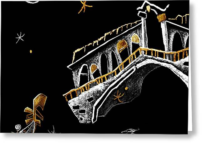 Print Tapestries - Textiles Greeting Cards - Venice Art T-shirt Design Rialto Nacasona Fashion Line - Arte Disegno Maglietta Venezia Italia Greeting Card by Arte Venezia