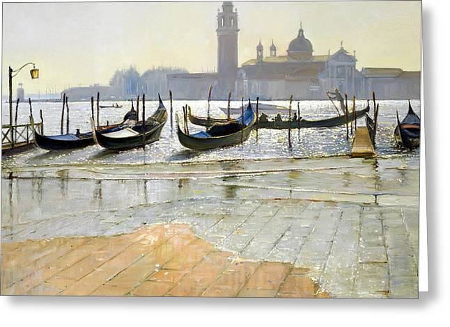 Gondolas Greeting Cards - Venice at Dawn Greeting Card by Timothy Easton