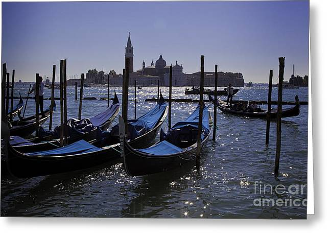 Gondolier Greeting Cards - Venice at Dusk Greeting Card by Madeline Ellis