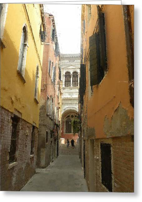 Backstreets Greeting Cards - Venice Backstreets Digital Painting Greeting Card by Heinz G Mielke