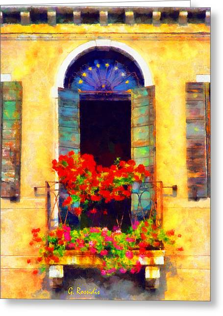 G.rossidis Greeting Cards - Venice balcony Greeting Card by George Rossidis