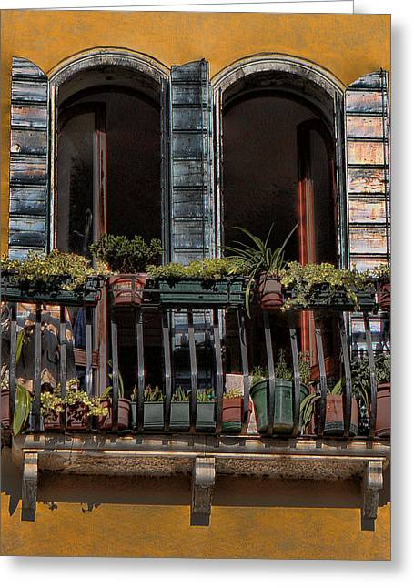 Toms Place Greeting Cards - Venice Balcony Greeting Card by Tom Prendergast