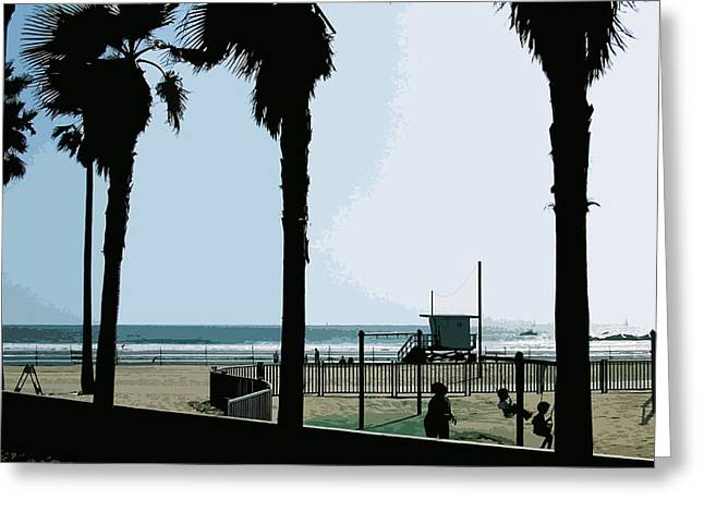 Venice Beach Palms Greeting Cards - Venice Beach California Greeting Card by Phill Petrovic