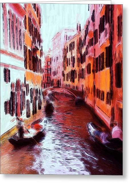 Bridge Pastels Greeting Cards - Venice by Gondola Greeting Card by Stefan Kuhn