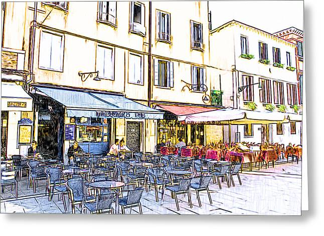 Venice Tour Greeting Cards - Venice Cafe Greeting Card by Yury Malkov
