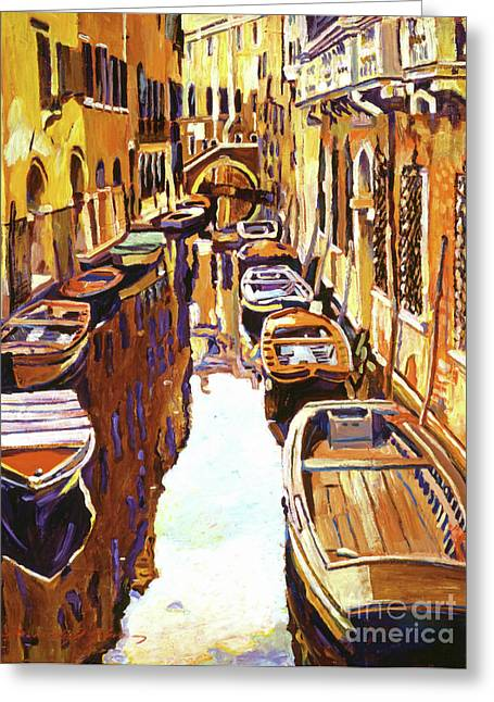 Most Paintings Greeting Cards - Venice Canal Greeting Card by David Lloyd Glover