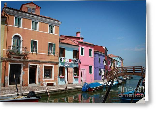 Colorful Houses Greeting Cards - Venice Canal Greeting Card by Linda Woods
