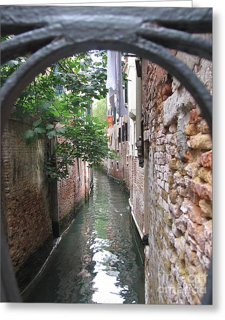 Spaghetti Greeting Cards - Venice Canal through gate Greeting Card by Italian Art